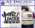 THE JUSTICE LEAGUE TEXT LOGO VINYL Decal Sticker Carbon Fiber Black 120x97