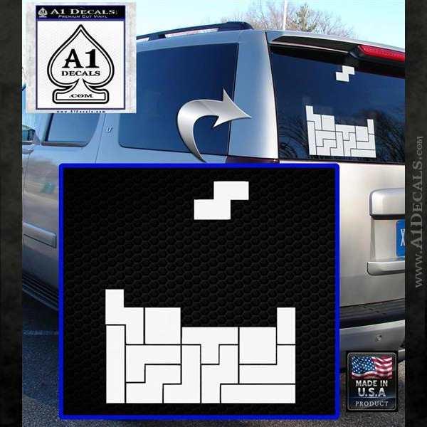Tetris Decal Sticker D1 White Emblem