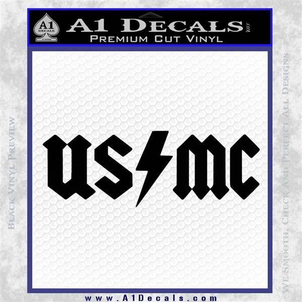 USMC AC DC Decal Sticker Black Logo Emblem