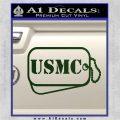 USMC Marine Dog Tags Decal Sticker Dark Green Vinyl 120x120