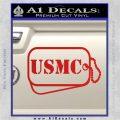 USMC Marine Dog Tags Decal Sticker Red Vinyl 120x120