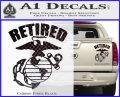 USMC Retired Decal Sticker Carbon Fiber Black 120x97