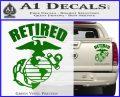 USMC Retired Decal Sticker Green Vinyl 120x97