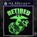 USMC Retired Decal Sticker Lime Green Vinyl 120x120