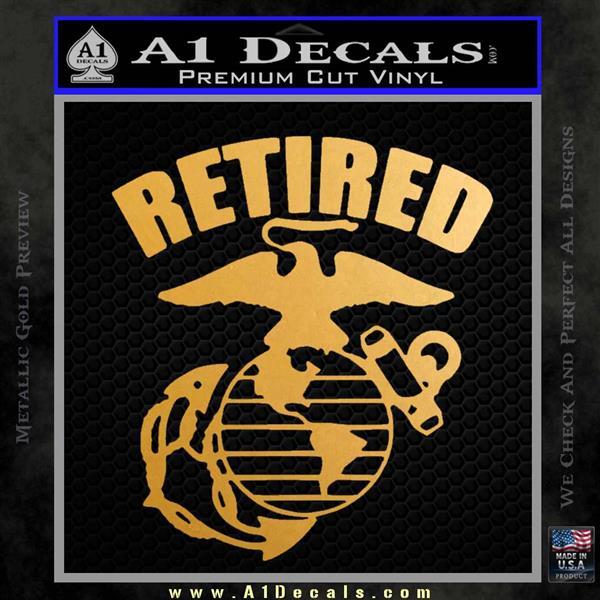 USMC Retired Decal Sticker Metallic Gold Vinyl