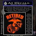 USMC Retired Decal Sticker Orange Vinyl Emblem 120x120