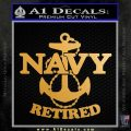 United States Navy Retired Achor Decal Sticker Metallic Gold Vinyl Vinyl 120x120