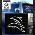2 Dolphins Jump Decal Sticker White Emblem 120x120