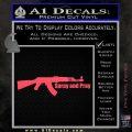 AK 47 Spray and Pray Decal Sticker Pink Vinyl Emblem 120x120