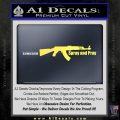 AK 47 Spray and Pray Decal Sticker Yelllow Vinyl 120x120