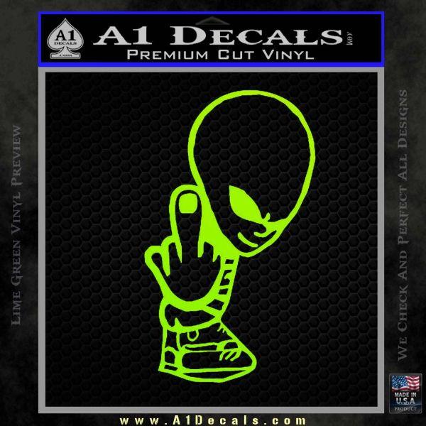 Alien The Finger Decal Sticker UFO Lime Green Vinyl