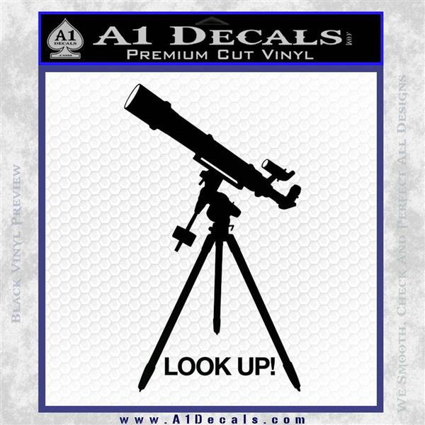 Astronomy Telescope Decal Sticker Black Logo Emblem