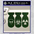 Bio Hazzard Bombs Decal Sticker Dark Green Vinyl 120x120