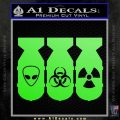 Bio Hazzard Bombs Decal Sticker Lime Green Vinyl 120x120