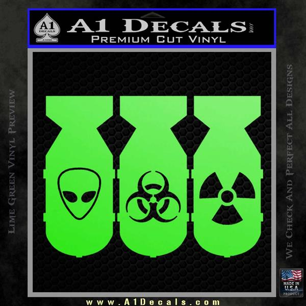 Bio Hazzard Bombs Decal Sticker Lime Green Vinyl