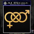 Bisexual Symbol Decal Sticker Gold Vinyl 120x120