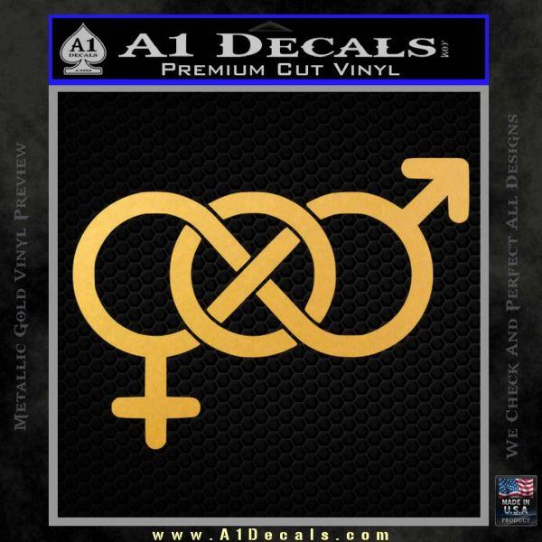 Bisexual Symbol Decal Sticker Gold Vinyl