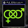 Bisexual Symbol Decal Sticker Lime Green Vinyl 120x120