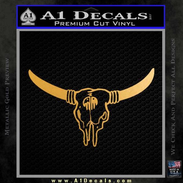 Bison Skull Native American DW Indian Decal Sticker Metallic Gold Vinyl
