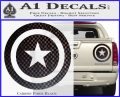Captain USA Shield Decal Sticker Carbon Fiber Black 120x97