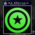 Captain USA Shield Decal Sticker Lime Green Vinyl 120x120