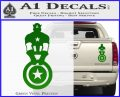 Captain USA With Shield Decal Sticker Green Vinyl 120x97