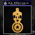 Captain USA With Shield Decal Sticker Metallic Gold Vinyl 120x120