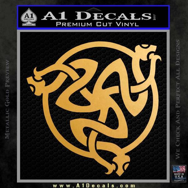 Celtic Knot Snake DS Decal Sticker Metallic Gold Vinyl