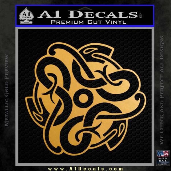 Celtic Knot Snake Decal Sticker DH Metallic Gold Vinyl