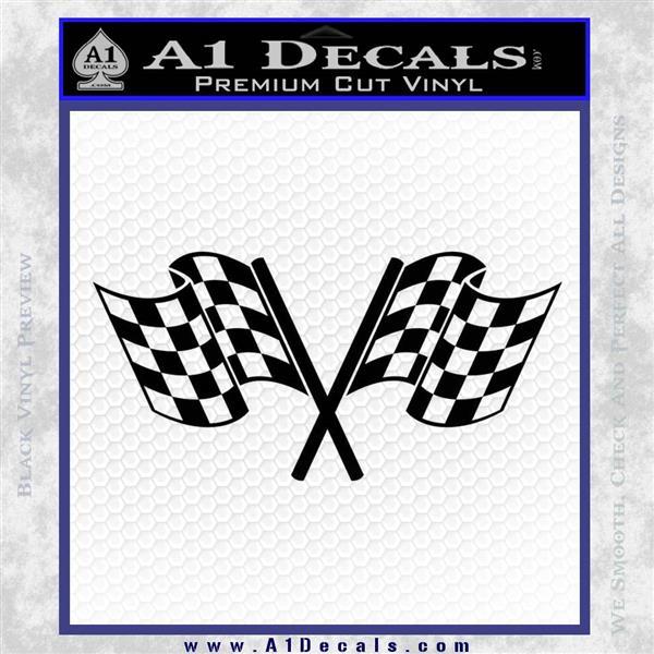 Checkered Racing Flag D1 Decal Sticker Black Logo Emblem