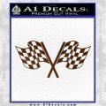 Checkered Racing Flag D1 Decal Sticker Brown Vinyl 120x120