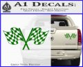 Checkered Racing Flag D1 Decal Sticker Green Vinyl 120x97