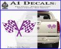 Checkered Racing Flag D1 Decal Sticker Purple Vinyl 120x97