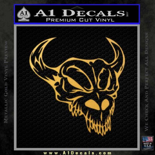 Cow Skull Decal Sticker Gold Vinyl