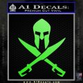 Crossed Spartan Swords Decal Sticker D2 Lime Green Vinyl 120x120
