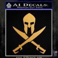 Crossed Spartan Swords Decal Sticker D2 Metallic Gold Vinyl 120x120
