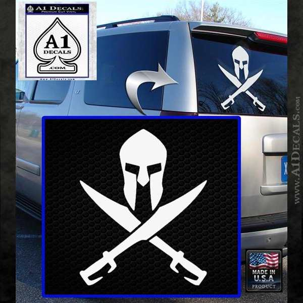 Crossed Spartan Swords Decal Sticker D2 White Emblem
