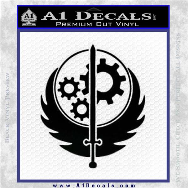 Fallout Brotherhood D4 Decal Sticker Black Logo Emblem