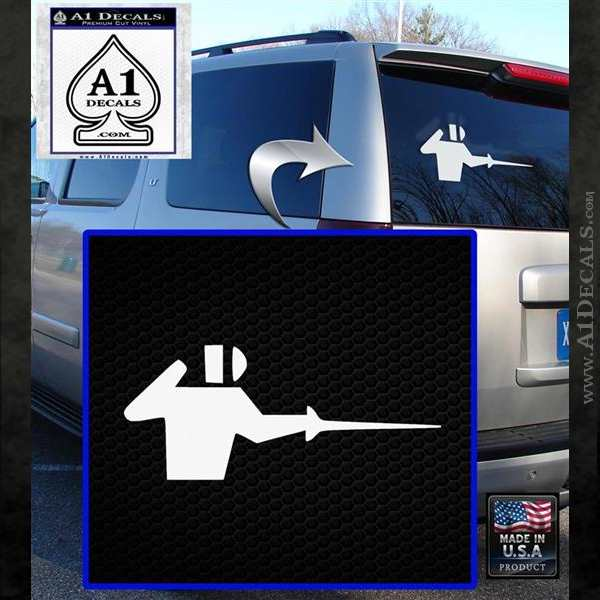 Fencing Decal Sticker D1 White Emblem