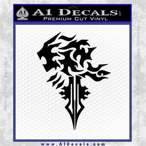 Final Fantasy Lionheart Decal Sticker DZA Black Logo Emblem