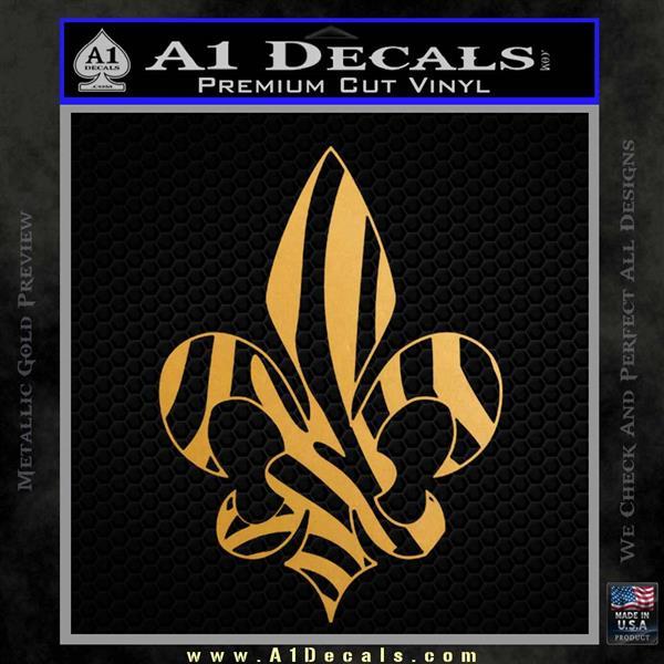 French Cross Fluer De Lis Zebra Decal Sticker Metallic Gold Vinyl
