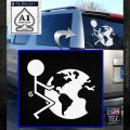 Fuck The World Decal Sticker White Emblem 120x120