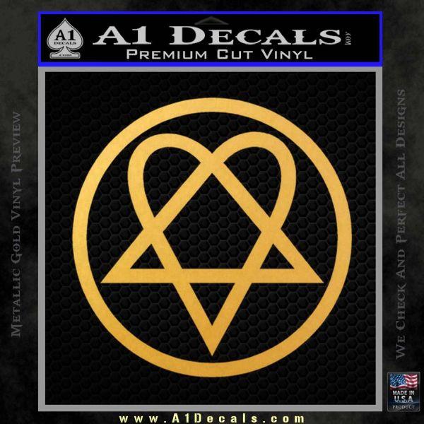 Heartogram Decal Sticker HIM Gold Vinyl