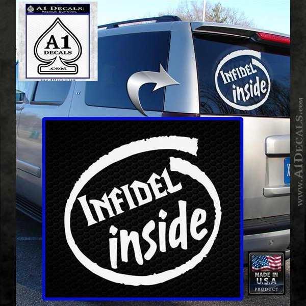 Infidel Inside Decal Sticker White Emblem