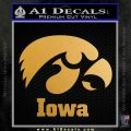 Iowa Hawkeyes Tiger Hawk Decal Sticker Metallic Gold Vinyl 120x120