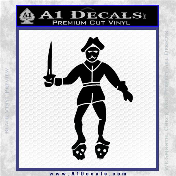 Jolly Roger Black Bart Crossbones D2 Decal Sticker Black Logo Emblem