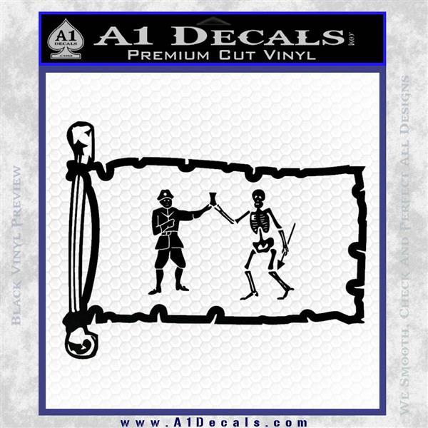 Jolly Roger Black Bart Pirate Flag INT D1 Decal Sticker Black Logo Emblem
