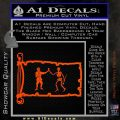 Jolly Roger Black Bart Pirate Flag INT D1 Decal Sticker Orange Vinyl Emblem 120x120