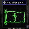 Jolly Roger Black Bart Pirate Flag INT D2 Decal Sticker Lime Green Vinyl 120x120