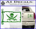 Jolly Roger Calico Jack Rackham Pirate Flag INT Decal Sticker Green Vinyl 120x97